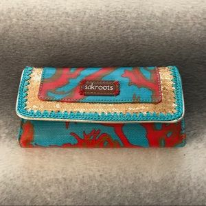 Sakroots Turquoise Coral Gold Sequin Wallet